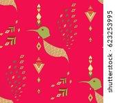 exotic aztec birds seamless... | Shutterstock .eps vector #623253995