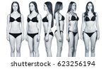 set of woman's body from all... | Shutterstock . vector #623256194