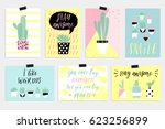 cute summer cards  posters set... | Shutterstock .eps vector #623256899