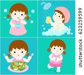 happy girl do daily healthy... | Shutterstock .eps vector #623259599