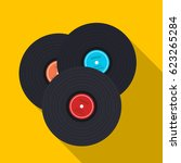 Vinyl Records Icon In Flat...