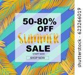 summer sale banner tropical... | Shutterstock .eps vector #623266019