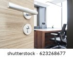 open the door of the company... | Shutterstock . vector #623268677