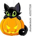 Stock vector a cute black cat on a halloween pumpkin 62327518
