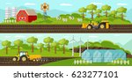 colorful agriculture horizontal ... | Shutterstock .eps vector #623277101