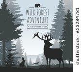 wildlife foggy coniferous... | Shutterstock .eps vector #623284781