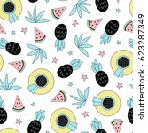 seamless summer pattern. vector ... | Shutterstock .eps vector #623287349