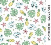seamless summer pattern. vector ... | Shutterstock .eps vector #623287385