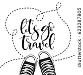 hand drawn sneakers on... | Shutterstock .eps vector #623287805