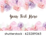 group of roses  watercolor... | Shutterstock .eps vector #623289365
