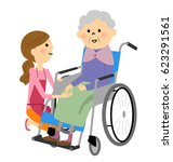 elderly person sitting in a... | Shutterstock .eps vector #623291561