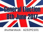 General Election 8th June 2017 written on a British Union jack flag. Photograph with added text.