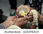 thai people celebrate songkran  ... | Shutterstock . vector #623296415