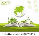 environmentally friendly world. ... | Shutterstock .eps vector #623298059