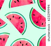 fruity seamless pattern with... | Shutterstock . vector #623299994