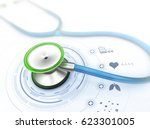 stethoscope and medical symbols ... | Shutterstock . vector #623301005