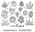 hand drawn set with cactuses in ... | Shutterstock .eps vector #623307305