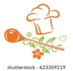 healthy cooking  cooking hat... | Shutterstock .eps vector #623309219