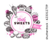 vector hand drawn trendy sweets ... | Shutterstock .eps vector #623312759