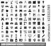 100 company icons set in simple ... | Shutterstock .eps vector #623321585