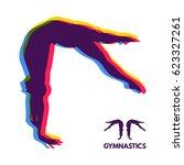 gymnast. silhouette of a dancer.... | Shutterstock .eps vector #623327261