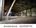 Empty Rural Barn With Wooden...