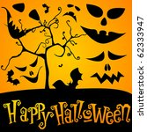 vector cute halloween... | Shutterstock .eps vector #62333947