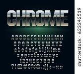 vector set of dark chrome... | Shutterstock .eps vector #623342519