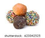 group of glazed donuts on white ... | Shutterstock . vector #623342525