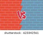 versus letters fight  bricks... | Shutterstock .eps vector #623342561