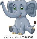 cute elephant cartoon. vector... | Shutterstock .eps vector #623343389