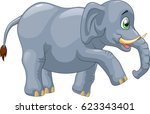 cute elephant cartoon. vector... | Shutterstock .eps vector #623343401