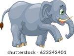 cute elephant cartoon. vector... | Shutterstock .eps vector #623343401
