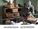 burglar stealing items from...   Shutterstock . vector #623344034