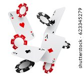 falling casino chips and aces ... | Shutterstock .eps vector #623345279