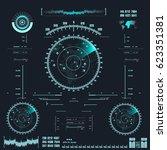 futuristic blue virtual graphic ... | Shutterstock .eps vector #623351381
