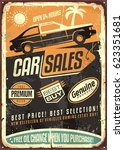 car sales vintage vector sign... | Shutterstock .eps vector #623351681