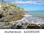 promenade along ocean coast in... | Shutterstock . vector #623355245