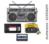 retro style audio cassette ... | Shutterstock .eps vector #623356694