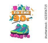 memphis retro style back to the ... | Shutterstock .eps vector #623356715