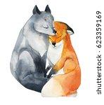 love you sweet  watercolor... | Shutterstock . vector #623359169