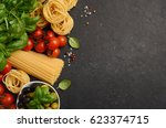 pasta  vegetables  herbs and... | Shutterstock . vector #623374715