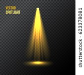 golden vector spotlight. yellow ... | Shutterstock .eps vector #623378081