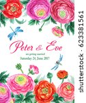 wedding invitation card with... | Shutterstock . vector #623381561