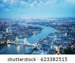 london at night with urban... | Shutterstock . vector #623382515