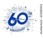 60th anniversary logo with... | Shutterstock .eps vector #623383421