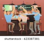 beer bar   restaurant. football ...   Shutterstock .eps vector #623387381