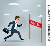 businessman running at the... | Shutterstock .eps vector #623398445