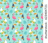 tropical seamless pattern with... | Shutterstock .eps vector #623404721