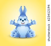 little funny bunny sits with... | Shutterstock .eps vector #623412194